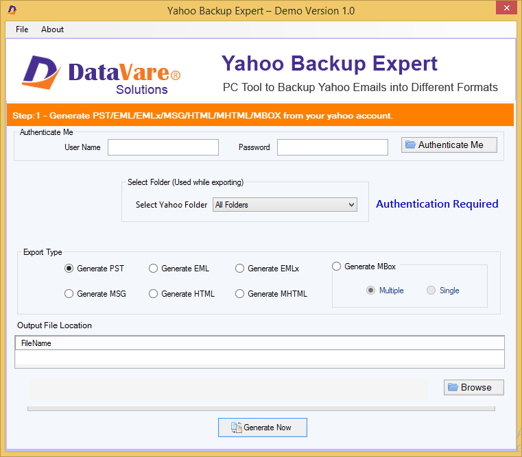 Toolsbaer Yahoo Backup Tool full screenshot