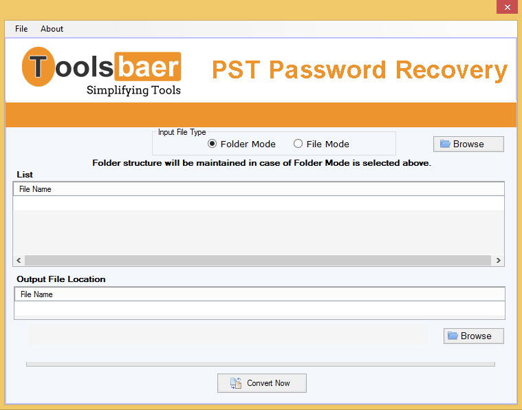 Toolsbaer Outlook Password Recovery full screenshot